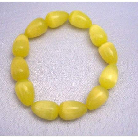Stretchable Bracelet Yellow 12mm Teardrop Cat Eye Beaded Bracelet Gift