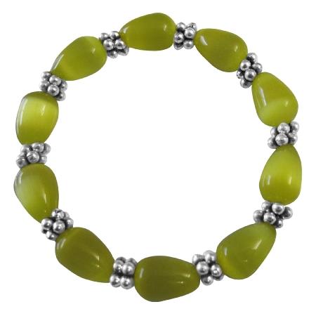 Stretchable Bracelet Yellow Cat Eye Beaded Bracelet w/ Daisy Spacing