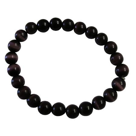 Handmade Stretchable Custom Dark Purple Cat Eye Beaded Bracelet
