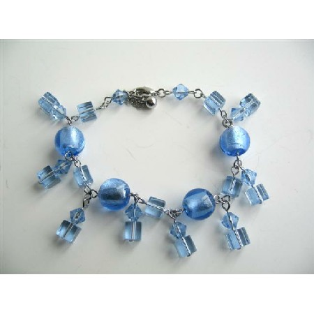 Cool Blue Dangling Crystals Bracelets Simulated Crystals Bracelet