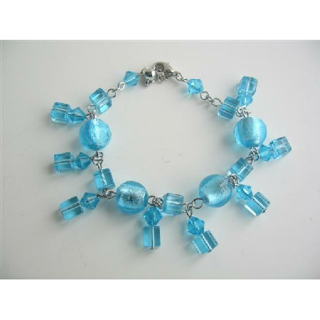 Immitation Aquamarine Crystals Dangling Bracelet