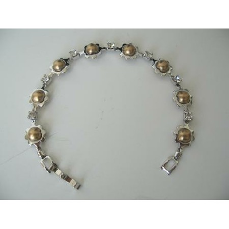 Classic Cubic Zircon Bracelet w/ Bronze Pearls Bracelet 7 Inches