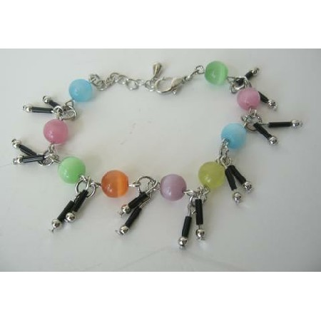 Multi Color Simulated Cat Eye Beaded w/ Dangling Bracelet 7 Inches