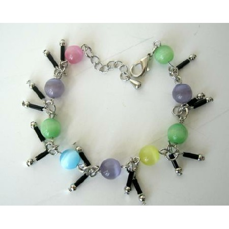 Colorful Simulated Cat Eye Beaded Bracelet Dangling Bracelet 7 Inches
