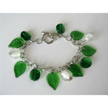 Green Leaves Beaded Dangling Bracelet