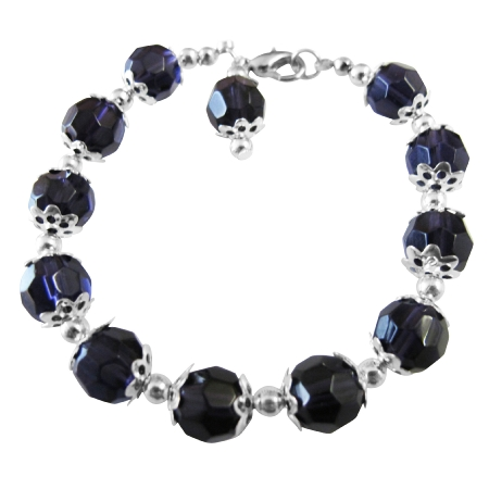 Dark Purple Egg Plant Immitation Crystals Beads Bracelet Bali Silver