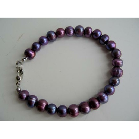Purple Freshwater Pearls Jewelry Purple Metallic Pearls Bracelet