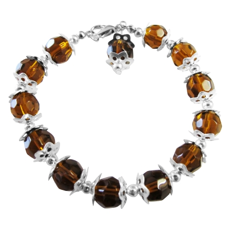 Sparkling Smoked Topaz Color Immitation Crystals Beads Bracelet