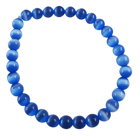 Blue 6mm Cat Eye Beaded Stone Stretchable Bracelet Handmade Jewelry