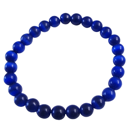 Cat Eye Dark Blue Beaded Stretchable Bracelet Handmade Jewelry