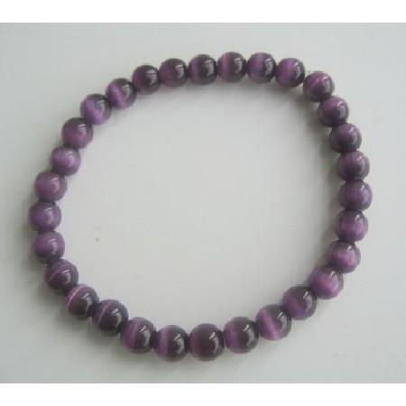 Cat Eye Beaded Stretchable Purple Cat Eye 6mm Beads Handmade Bracelet
