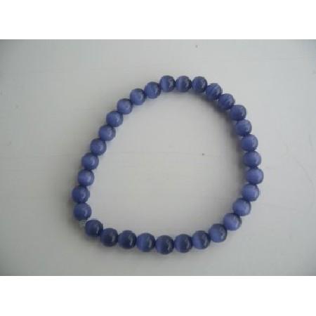 Stretchable Royal Blue Cat Eye Beaded Bracelet Handmade Jewelry