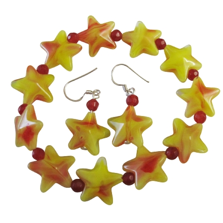 Yellow Star & Red Beads Christmas Stretchable Bracelet Silver Earrings