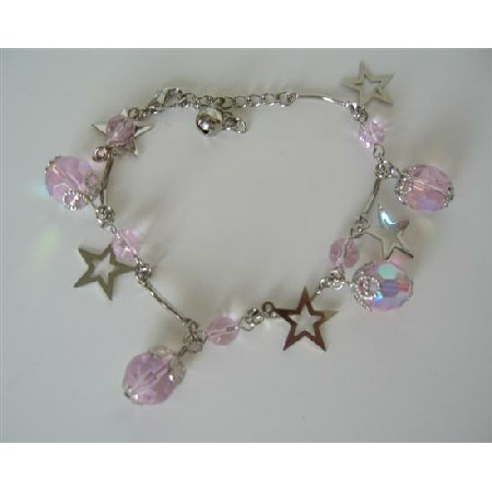 Simulated Rose Pink Crystal & Star Dangling Christmas Bracelet