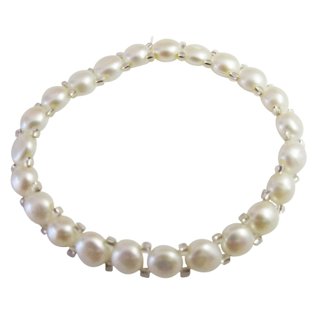 Beautiful White Simulated 6mm Freshwater Pearls Stretchable Bracelet
