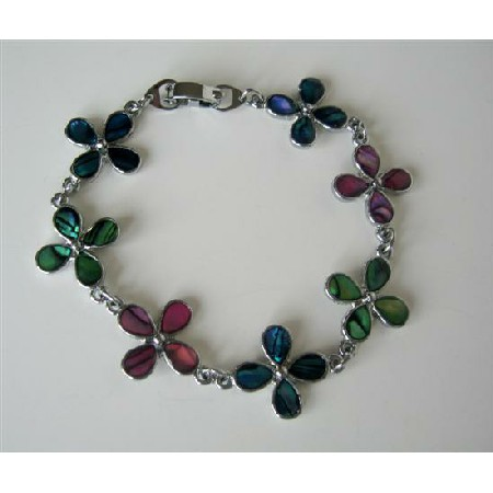 Colorful Mother of Shell Flower Bracelet 7 Inches Long Bracelet