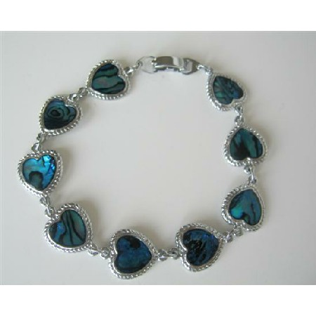 Simulated Blue Mother Shell Heart Bracelet 7 Inches Long Bracelet