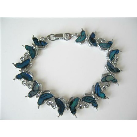 Blue Mother of Shell Butterfly Bracelet 7 Inches Long Bracelet