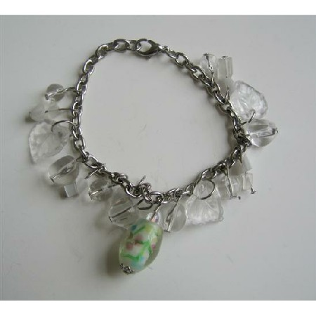 Soothing Pure White Beaded Dangling Leaves Millefiori Bracelet