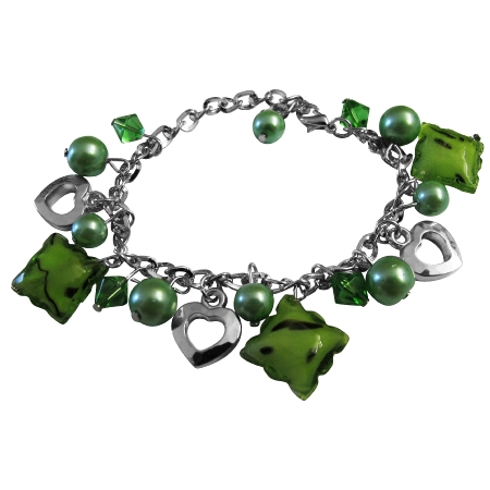 Trendy Classy Immitation Green Beads Dangling Gorgeous Sexy Bracelet