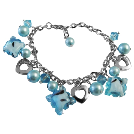 Blue Beads Dangling Gorgeous Sexy Bracelet Gift Jewelry