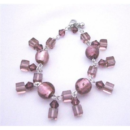 Beautiful Simulated Amethyst Crystals Beads Classy Dangling Bracelet