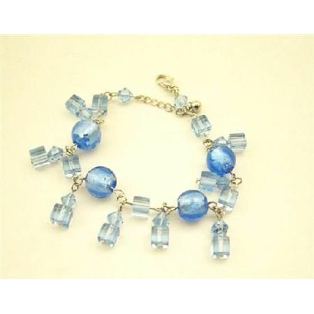 Sexy Simulated Aquamarine Sapphire Crystal Dangling Bracelet