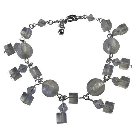 Clear Crystals Dangling Bracelet Simulated Clear Crystals Bracelet