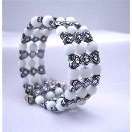 Black & White Classy Stretchable Bangle Bracelet Cuff Bracelet