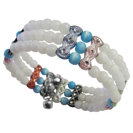 Assorted Colors Beaded Bangle Cuff Bracelet Stretchable Bracelet