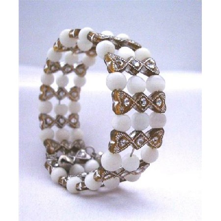 White & Brown Classy Cuff Bracelet Bangle/Stretchable Bracelet t