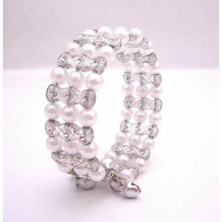 Grey & White Classy Cuff Bracelet Bangle/Stretchable Bracelet