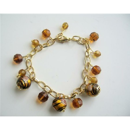 Brown Classy Beads Gold Plated Chain Simulated Millefiori Bracelet