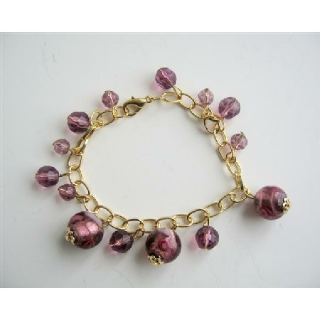 Millefiori Simulated Glass Amethyst Beads Gold Plated 7 Inch Bracelet