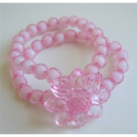Pink Flower Simulated Crystal Double Stranded Stretchable Bracelet