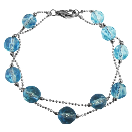 Aquamarine Multifaceted Crystals 10mm Double Stranded Bracelet