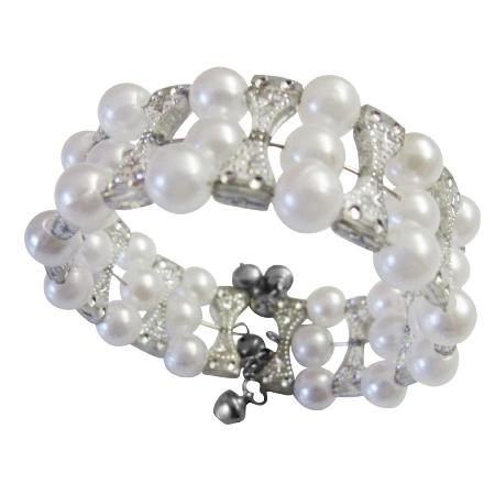 Cream Simulated Pearls & Grey Classy Cuff Bangle Stretchable Bracelet