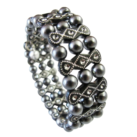 Dark Gray Pearls Stretchable w/ Black Ethnic Designed Bangle Bracelet