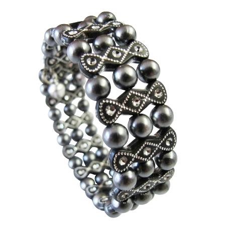 Dark Gray Pearls Stretchable w/ Black Ethnic Designed Bangle Bracelet
