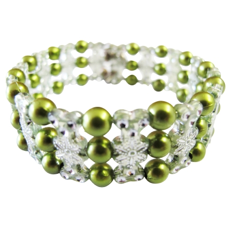 Beautiful Olive Pearls Stretchable Bracelet Designed Bangle Bracelet