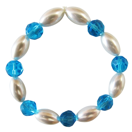 Ivory Oval Pearl Aqumarine Round Bead Stretchable Party Bracelet
