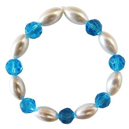 Ivory Oval Pearl Aqumarine Round Bead Stretchable Party Bracelet