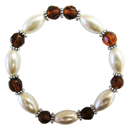 Wedding Bridesmaid White Oval Pearls Smoked Topaz Stretchable Bracelet