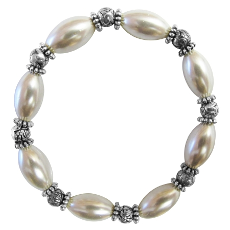 Bridesmaid White oval Pearls Bali Silver Beads Stretchable Bracelet