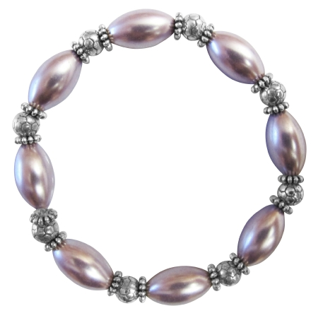 Prom Bridesmaid Bridal Ethnic Purple Oval Pearls Stretchable Bracelet