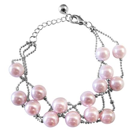 Three Stranded Bracelet Pink Pearl Fashionable Adorable Fancy Bracelet