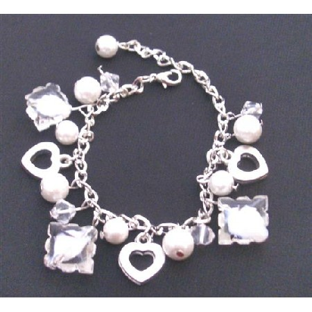 White Pearl Clear Crystal Heart Charm Trendy Bracelet Pearl Dangling