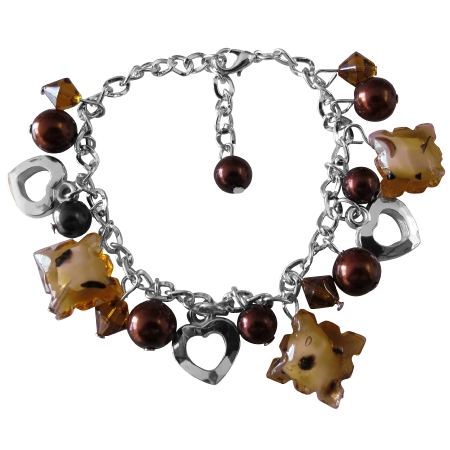 Brown Beads Pearl Heart Charm Brown Pearl Thick Chained Bracelet