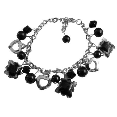 Jewelry Black Crystals Black Pearl Fabulous Dangling Bracelet