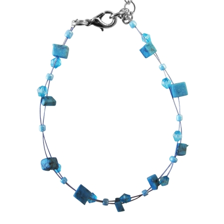 Return Gift Jewelry Blue Color Turquiose Nugget & Glass Beads Bracelet